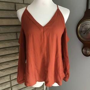 ASOS cold shoulder blouse burnt orange pumpkin